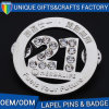 Custom Lapel Pin Souvenir Metal Badge Number with Rhinestones Diamond