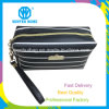 Black White Stripes Soft PU Factory Made Travel Makeup Bag