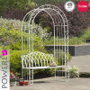 Modern Fancy Iron Garden Arch with Bench
