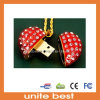 Jewelry USB Flash Driver Necklace Metal Heart Pendrives Pen Drive (JW-001)