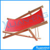 Red Folding Wooden Adjustable Lounge Beach Chair W/ Pillow