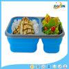 Three Lattice Food Grade Silicone Foldable Lunch Box