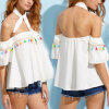 Fashion Women Leisure Casual Tassles Sleeves Bandage off Shoulder Clothes Blouse