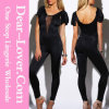 Black Mesh Inset Flutter Sleeve Backless Party Catsuit