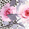 100%Polyester Rose White Panther Pigment&Disperse Printed Fabric for Bedding Set