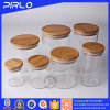 Glass Jar with Rubber Seal Bamboo Wooden Lid for Spice Food Storage
