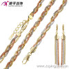 Fashion Three -Stone Alloy Jewelry Set with Chain, Bracelet and Earring -62987