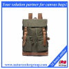 Retro and fashion Canvas Travel Backpack with Leather Trim