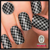 Professional Manufactory Black and Silver Sparkling Houndstooth Pattern Nail Art