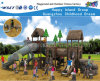 Wooden Roof Feature Children Playground with Slide Hf-10301