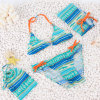Lovely Swimming Suit with Bag for Girl Blue and Yellow DOT