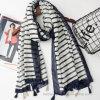 Fashion Black Stripe Printed Polyester Beach Scarf (HWS51)