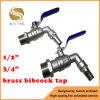 """1/2"""" 3/4"""" Bsp Thread One Way Flow Water Brass Bibcock Valve"""