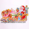 Customized 3D Santa Claus Riding on Sleigh Reindeers Glitter Christmas Ornament Window Stickers