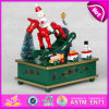 2015 Christmas Decoration Wooden Carousel Music Box, Hand Crank Music Box Movement, Latest Christmas Carousel Decoration W07b014A