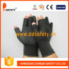 Ddsafety 2017 Black Nlyon Shell Black PVC Dots Seamless Half Finger Cotton Working Gloves