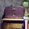 Fashion Purple Toiletry Bag Lady Sequins Handbag Small Size with Colorful Stripe Strap Sy8156