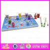 Hot New Product for 2015 3D Frog Fishing Toy, Wholesale Cheap Magnetic Toy Fishing Game, Wooden Puzzle 3D Frog Fishing Toy W01A014