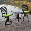 Design Popular Garden Dining Cast Aluminum Bistro Set with Rotatable Chair
