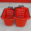 New Style Supermarket Rolling Plastic Shopping Basket Handle with Wheels for Wholesale