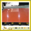 Polished Dark Orange Artificial Quartz Slabs for Kitchen Countertops (YQC)