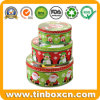 Round Christmas Tin Box Set for Metal Gift Box Packaging