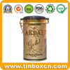 Embossed Airtight Black Tea Gold Collection Tin with Plastic Cover