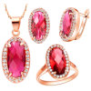 Fashion Jewelry Gold Plated 925 Silver Jewelry Set Ruby Stone