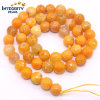 Natural Gemstone Loose Strand 6 8 10 12mm Round Shape Faceted Orange Agate Marble