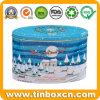 Embossed Oval Large Christmas Tin for Metal Gift Packaging Box