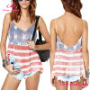 Distressed USA Flag Low Back Cami Top Slit Side Blouse