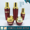 Red Coloured Glass Cosmetic Oil Bottle and Cream Glass Jars