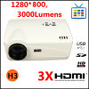 LED Projector HD Ready 1080p Projector with 3*HDMI+VGA+AV+Built in TV +USB+Card Reader+ YPbPr +S-Video (Projector H3)