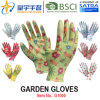 Garden Gloves, Printing Polyestershell Transparent Nitrile Coated Smooth Finish, Work Gloves (G1000) with CE, En388, En420