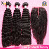 Mongolian Remy Human Virgin Hair Bundles Afro Kinky Curly Hair with Closure