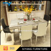 Six Seaters Marble Dining Table with Stainless Steel Legs