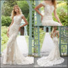 Cap Sleeves Bridal Gowns Mermaid Lace Champagne Wedding Dress M2028