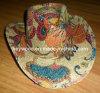 raffia straw printing cowboy hat