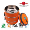 Round Orange Stainless Steel Lunch Box with Lock