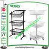 3 Tiers Wire Mesh Promotion Display Stand with Wheels