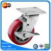 Top Lock Brake Swivel Plate PU Wheel Caster