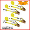 """Customized 2"""" X 30′ Yellow Ratchet Strap W/ Chain Extension"""