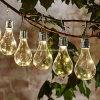 LED Solar Powered LED String Light Bulb Waterproof Globe LED String Lights for Fence Patio Yard Garden White Warm