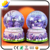 Creative Gifts Purple Lavender Lovers Bear with Light Snow Crystal Rotating Water Polo Ball Music Box