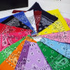 Custom Logo Printing Multifunctional Magic Cotton Square Paisley Bandana