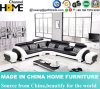 Modern Simple Home Black Leather Sofa for Living Room Furniture (HC2013)