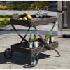 Rattan Garden Furniture Set and Patio Furniture Dining Car with 2 Wheels