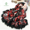 New Design Fashion Lady Satin Sillk Scarf with Printied Shawl