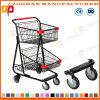 Balck Coated Metal Handing Shopping Carts Trolley (ZHt264)