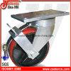 6 Inch Polyurethane with Bend Brake Waste Bin Caster